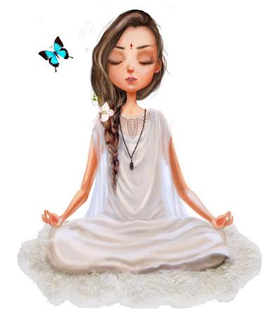 girl pose: cute cartoon girl in yoga lotus pose Stock Photo