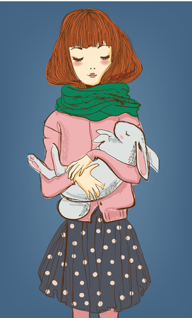 winter woman: young winter woman with white hare on her hands Illustration
