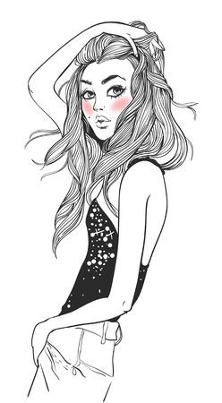 髪の長い若い魅力的な女性の肖像画  イラスト・ベクター素材