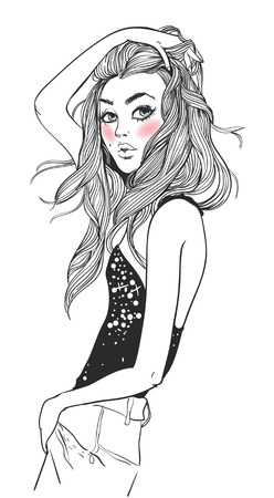 portrait of a young attractive woman with long hair Illustration
