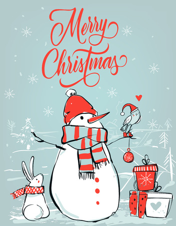 hares: christmas card with cute bear and little hares