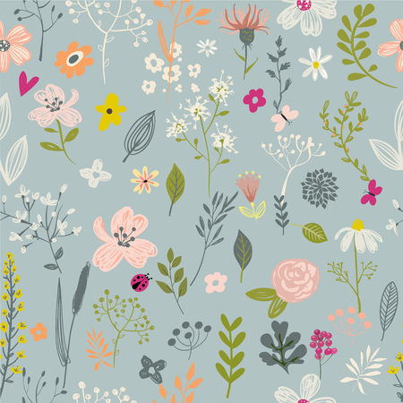 doodle floral seamless pattern on blue background