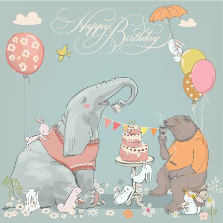 귀여운 곰, 코끼리와들 토끼 생일 카드