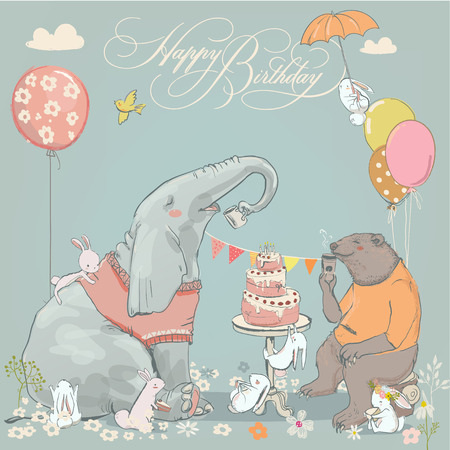 birthday card with cute bear, elephant and hares Illustration