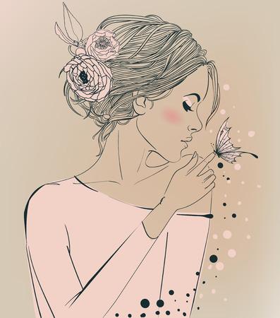 Retrato de joven bella mujer con flores Foto de archivo - 67968332