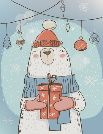 christmas present box: polar bear with present box - christmas card