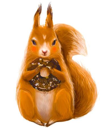 schattige eekhoorn met zoet doughnutdessert
