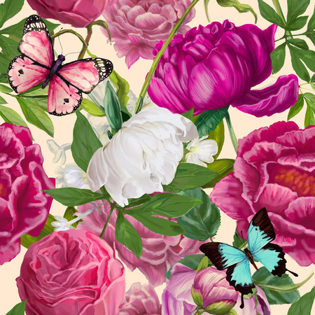 peoni seamless floral fashion pattern - seamless wallpaper