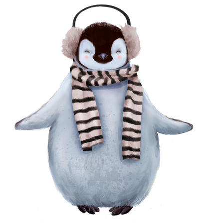 cute penguin with scarf