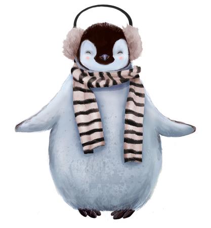Leuke pinguïn met sjaal Stockfoto - 69691319