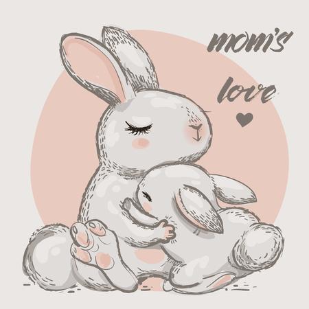 かわいいウサギのお母さんと抱擁と子供