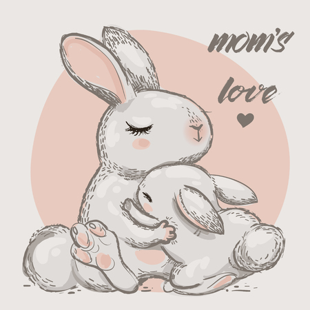 cute hares - mom and kid with hugs