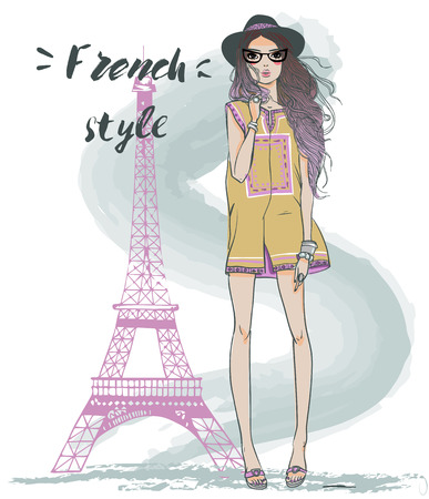 hot couple: two cute sketchy summer girl in paris Illustration