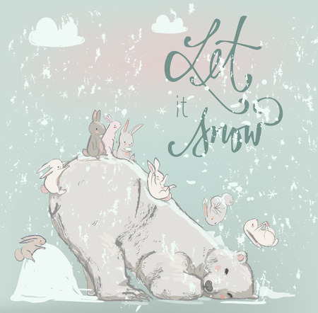 cute polar bearwith happy hares. winter vector illustration Vectores