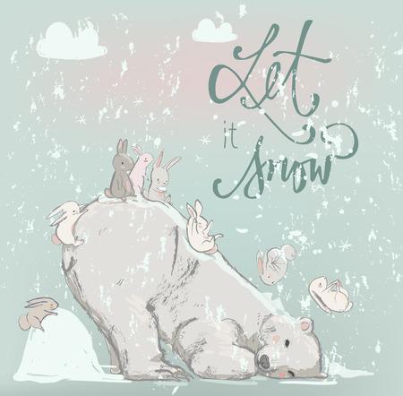 cute polar bearwith happy hares. winter vector illustration Vettoriali