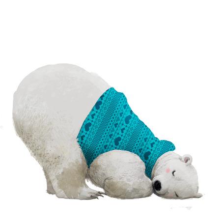 cute sleeping polar bear in sweater