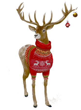 빨간 스웨터와 함께 귀여운 크리스마스 사슴의 초상화