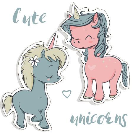 pink and blue cartoon cute fairytale unicorns Illustration