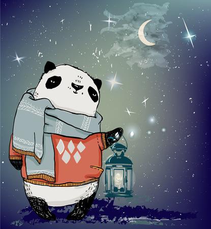 귀여운 겨울 팬더 곰