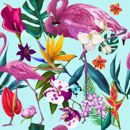 seamless exotic floral fashion pattern Stockfoto