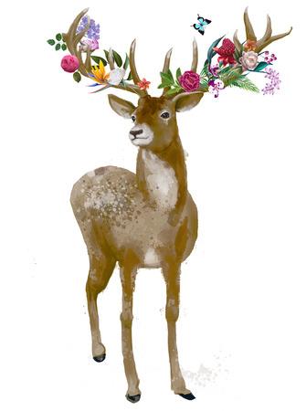 cervidae: beautiful deer with floral wreath