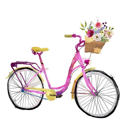 cute pink watercolor bike