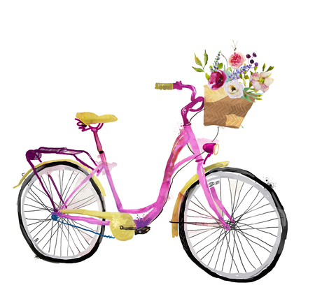 cute pink watercolor bike