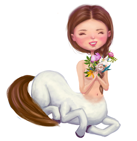 cute cartoon centaur with wreath