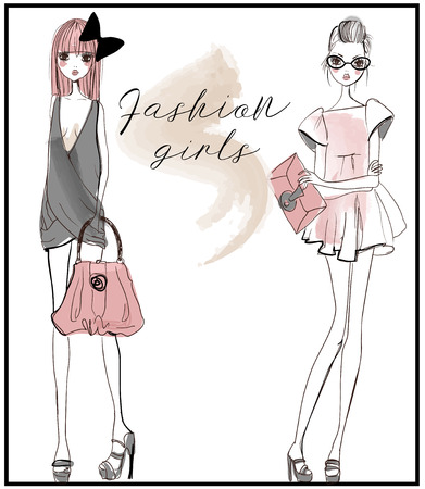 cute fashion girls Illustration
