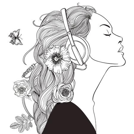 헤드폰 아름다운 소녀