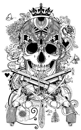 golden human skull with decorative elements. vector illustration Imagens - 70982786