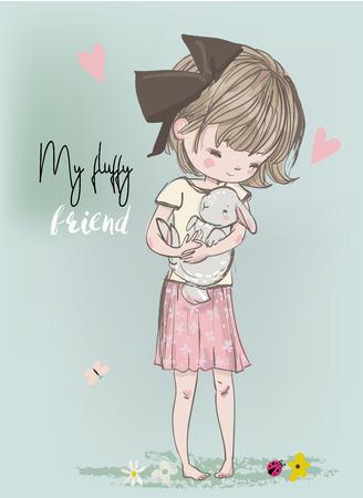 Cute little princess with black cat