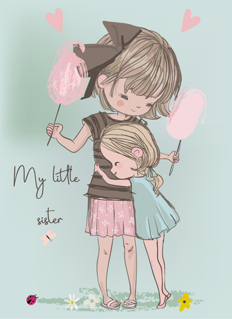 cute girls embrace Illustration