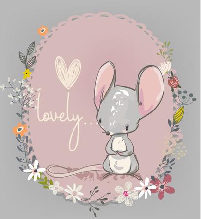 花のかわいいマウス  イラスト・ベクター素材
