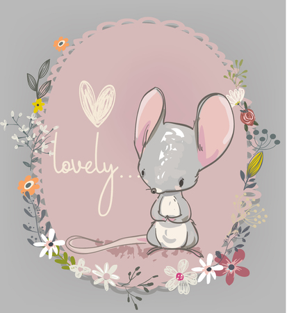 Cute little mouse with flowers