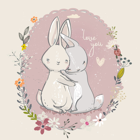 Adorable little hares with flowers Illustration