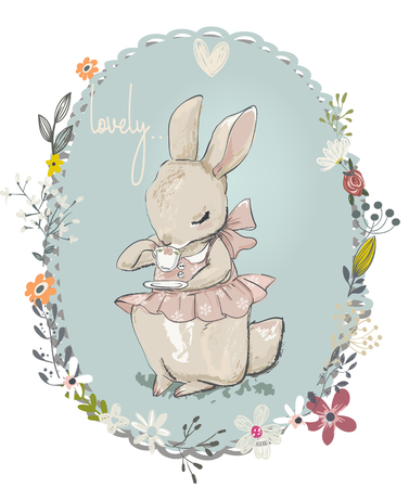 cute little hares with flowers
