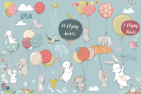 set with flying hares Stock Illustratie