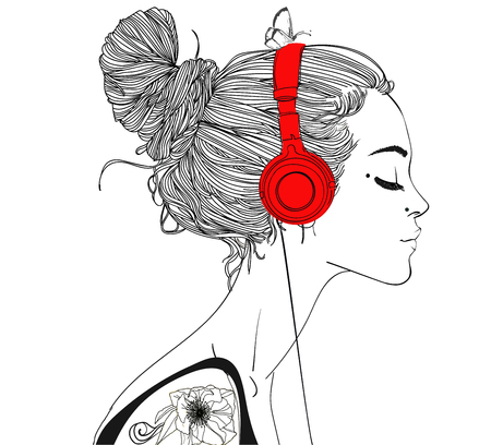 earbud: beautiful girl with headphones