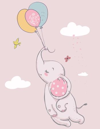 Elefante carino del fumetto con gli aerostati Archivio Fotografico - 76569142