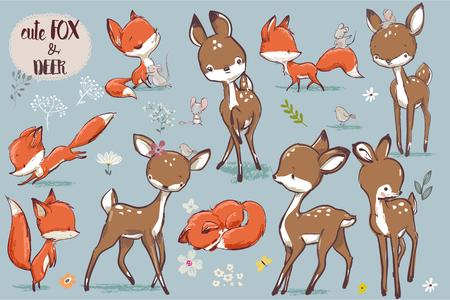 Cute fox and deer pattern