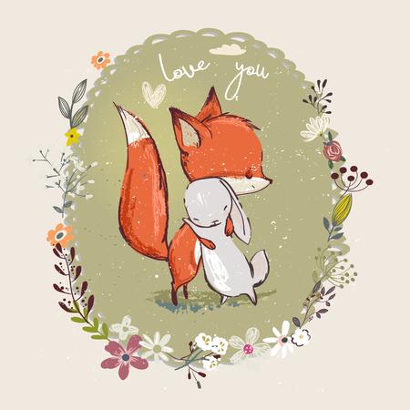 Pequeña liebre linda con el zorro