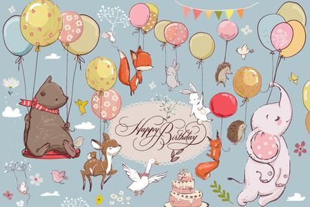 Śliczne zwierzęta latające z balonami