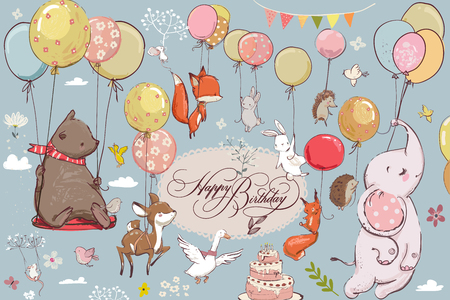 Cute animals flying with balloons