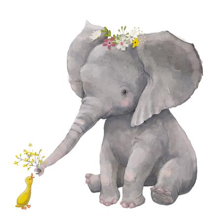 Schattige olifant met kleine eend