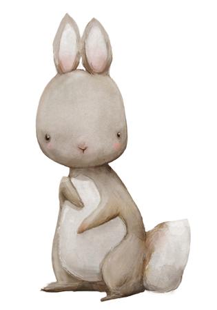 cute watercolor hare
