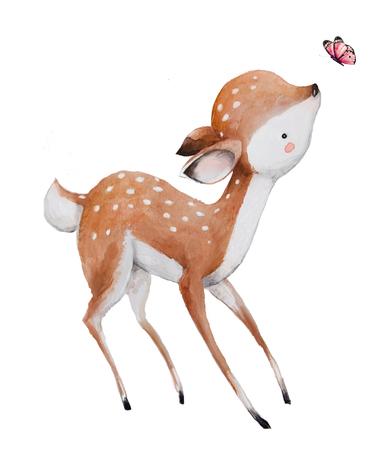 cute watercolor deer Standard-Bild