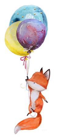 cute watercolor fox