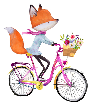 cute fox on bicycle with flowers