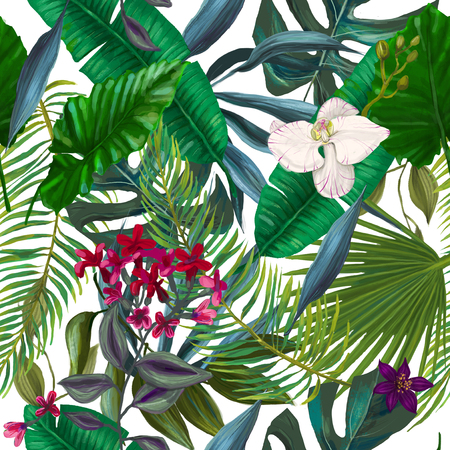 seamless pattern with exotic leaves and flowers